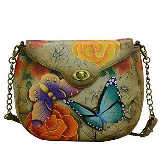 Anuschka Anna by Genuine Hand Painted Leather   Sling Flap Bag  