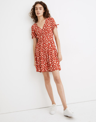 Madewell Button-Front Tie-Sleeve Retro Dress in Happy Hibiscus