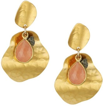 Chan Luu Hammered 18K Goldplated, Pink Moonstone & Pyrite Drop Earrings