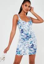 Missguided Tall Blue Floral Stretch Satin V Neck Mini Dress