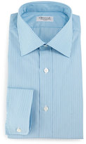 Charvet Striped Barrel-Cuff Dress Shirt, Teal