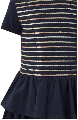 Monsoon Girls Sequin Stripe Jersey Tiered Dress - Navy