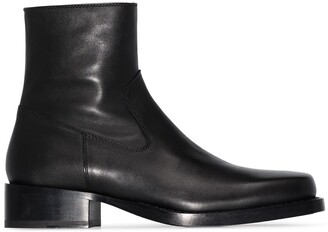 Ann Demeulemeester Square Toe Ankle Boots