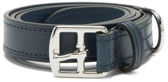 Andersons Topstitched Leather Belt - Navy