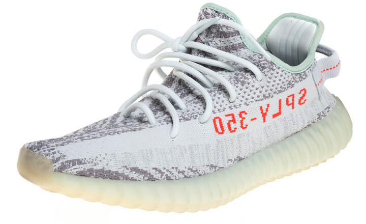 Yeezy x Adidas Light Blue Cotton Knit Boost 350 V2 Blue Tint Sneakers Size 44 2/3