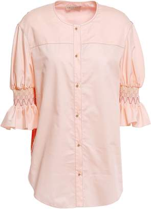 Emilio Pucci Floral-print Twill-paneled Smocked Cotton And Silk-blend Shirt