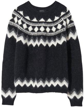 Nili Lotan Adene Sweater in Grey Fair Isle