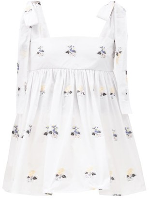 Cecilie Bahnsen Celina Floral-embroidered Poplin Top - White Multi