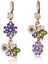 Betsey Johnson Spring Fling Faceted Bead Flower Mismatch Drop Earrings