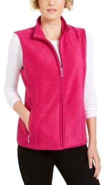 Karen Scott Petite Fleece Zip-Front Vest, Created for Macy's