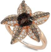 LeVian Le Vian Women's Chocolatier Diamond, Chocolate Quartz and 14K Strawberry Gold Starfish Ring
