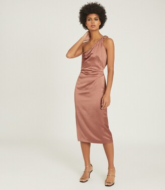 Reiss Adaline - Satin Cocktail Dress in Blush