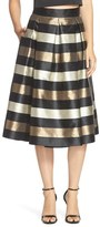 Eliza J Metallic Stripe Jacquard Skirt