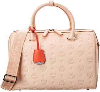 MCM Essential Monogram Leather Boston Bag