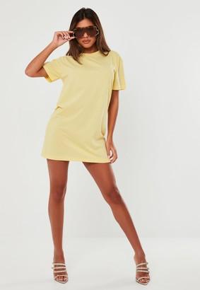 Missguided Petite Yellow Basic T Shirt Dress