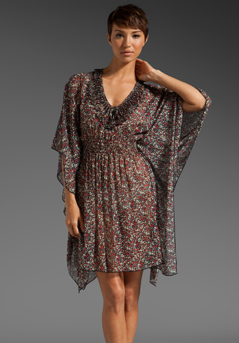 Anna Sui Scattered Posies Kimono Sleeve Dress
