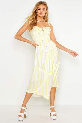 boohoo Candy Stripe Ruffle Detail Smock Dress
