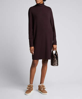 Majestic French Terry Relaxed Long-Sleeve Turtleneck Dress