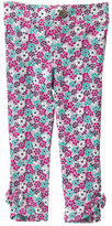 Pink & Turquoise Floral Bow-Accent Pants - Infant