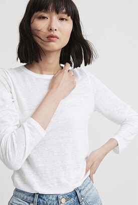 Witchery Crew Linen Long Sleeve Top