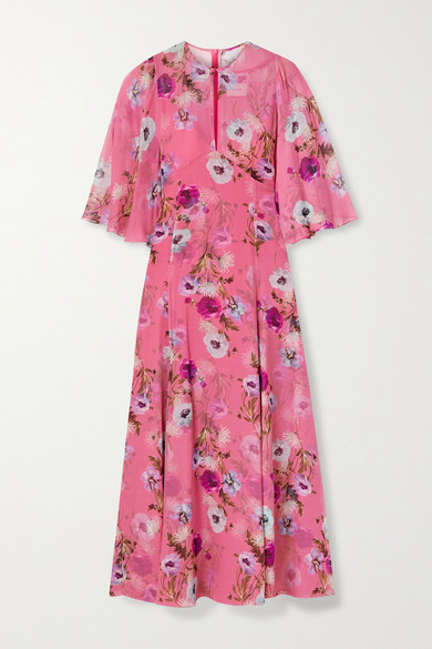 Erdem Alcie Cape-effect Floral-print Silk Crepe De Chine Midi Dress - Pink