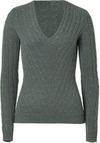 Ralph Lauren Black Anthracite Cashmere Cable Pullover