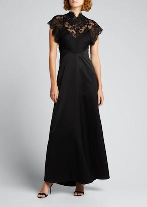 Victoria Beckham Lace-Top Satin A-Line Dress