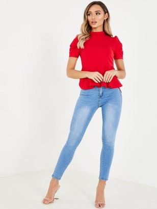 Quiz Peplum Puff Sleeve Top - Red