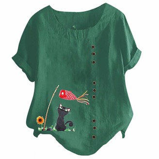 Beetlenew Womens Blouses Women's Short Sleeve Button Tops Plus Size Summer Funny Cat Print T-Shirt with Sunflower Pattern Holiday Casual Loose Crew Neck Tee Shirt Beach Tunic Top Oversized Blouse Orange