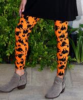 Orange & Black Cat Leggings - Adult