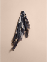 Burberry Check Lightweight Wool Silk Square Scarf