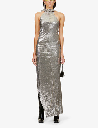 Off-White Paillet Curtain halter-neck embellished gown