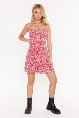 Nasty Gal Womens Red Floral Print Mini Dress - 14