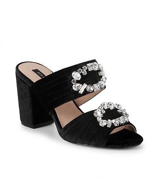 Ava & Aiden Perla Velvet Embellished Block Heel Sandals