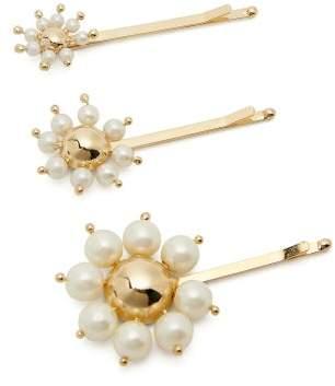 Rosantica Set Of Three Faux-pearl Daisy Hair Slides - Womens - Gold Multi