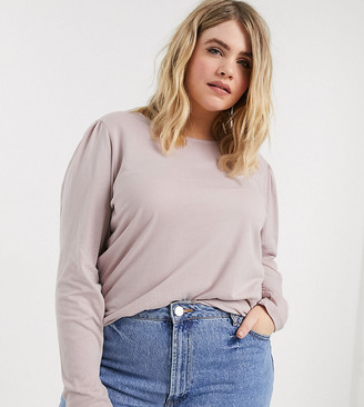 Vero Moda Curve top with puff sleeve in pink