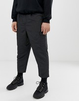 Asos Design DESIGN drop crotch tapered smart pants in sporty nylon in charcoal