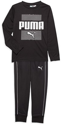 Puma Little Boy's Logo Long-Sleeve T-Shirt Track Pants Set