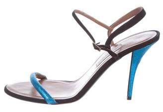 Tabitha Simmons Glitter Ankle Strap Sandals