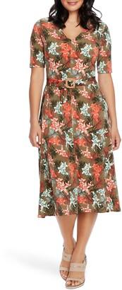 Chaus Tropical Print Midi Dress