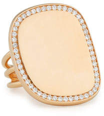 Roberto Coin Golden Jade 18K Rose Gold & Pave Diamond Ring, Size 6.5