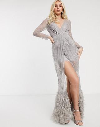 Asos Design DESIGN robe embellished maxi dress with feather hem-Grey