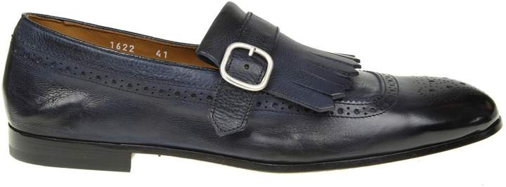 Doucal's Moccasin In Leather With Fringe Blue Color