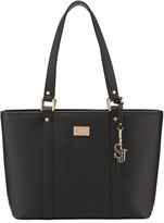 St. John Faux-Leather Zip-Top Tote Bag, Black