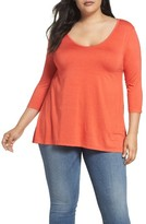 Three Dots Plus Size Women's Three Quarter Sleeve Tee