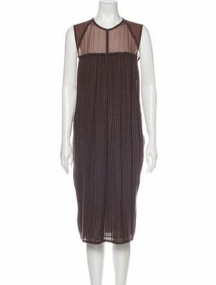 Bottega Veneta Crew Neck Midi Length Dress Brown