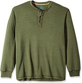 G.H. Bass Men's Big and Tall Canyon Sand Carbonized Henley Long Sleeve Shirt