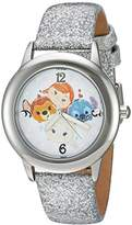 Disney Girl's 'Tsum Tsum' Quartz Stainless Steel Casual Watch, Color:Silver-Toned (Model: WDS000119)