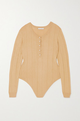 USISI SISTER Faux Pearl-embellished Ribbed Cotton-blend Bodysuit - Camel