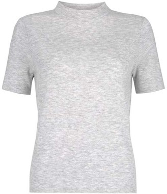 Mint Velvet Grey High Neck Fitted Top